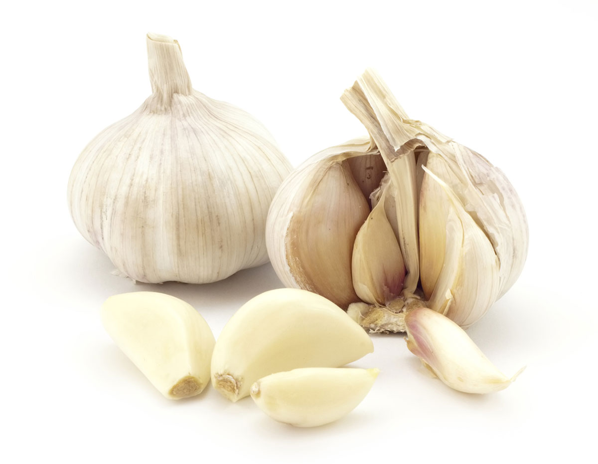 garlic bulb, with separated cloves