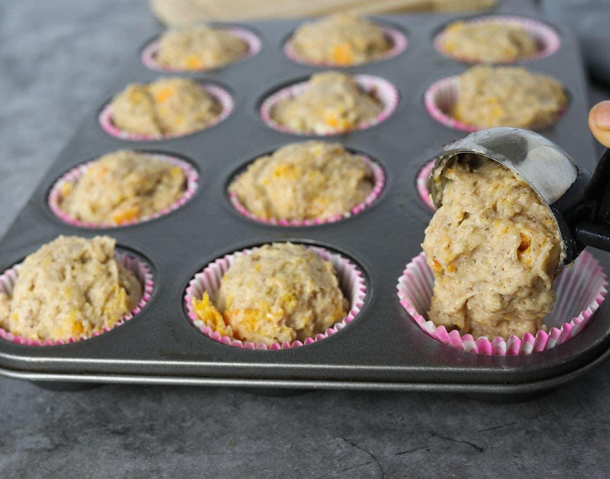 Butternut Squash muffins in muffin pan