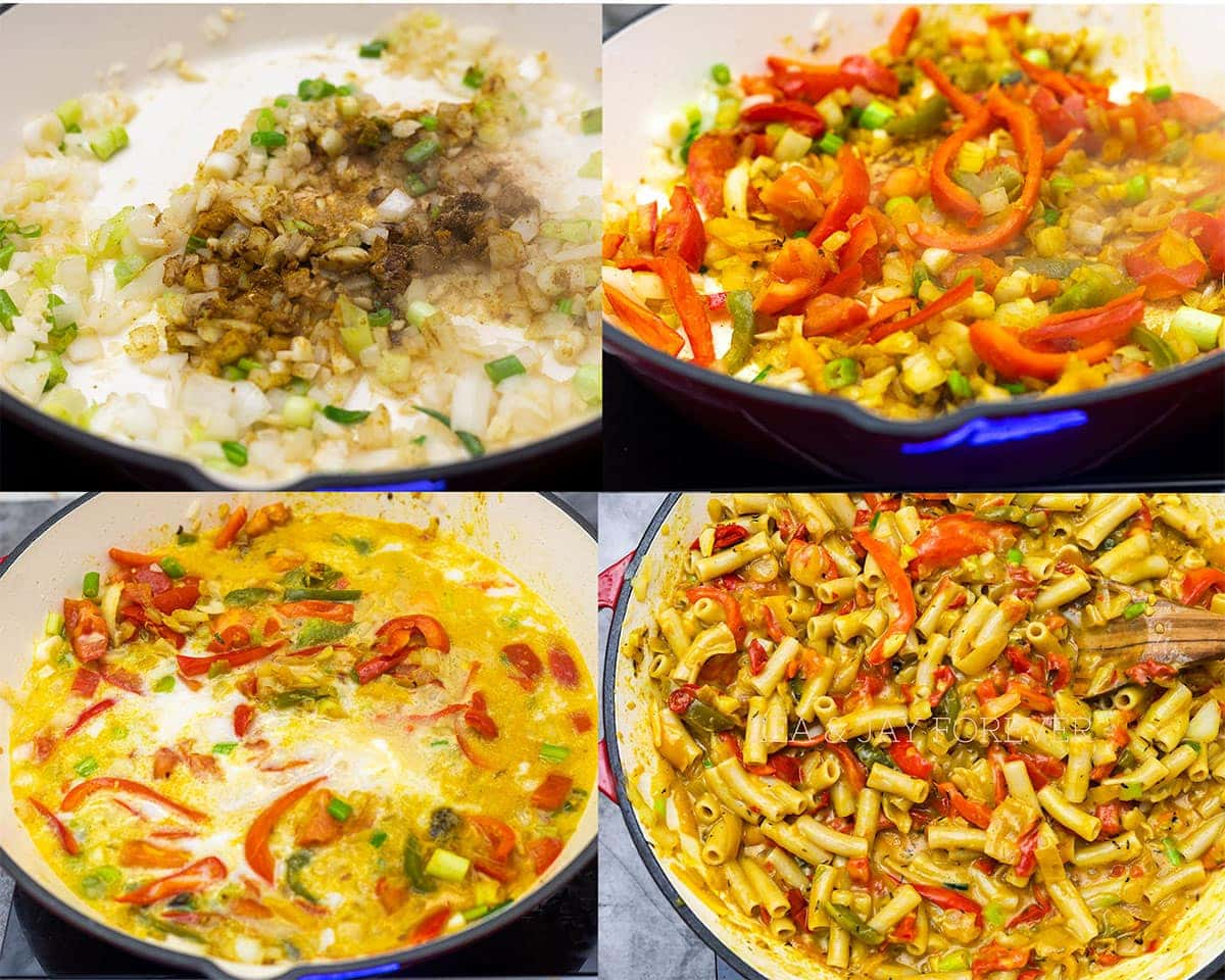 step by steps images of making rasta pasta