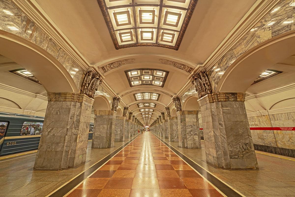 Kirovskiy zavod, metro station, St. Petersburg, Russia, subway, wide angle lens