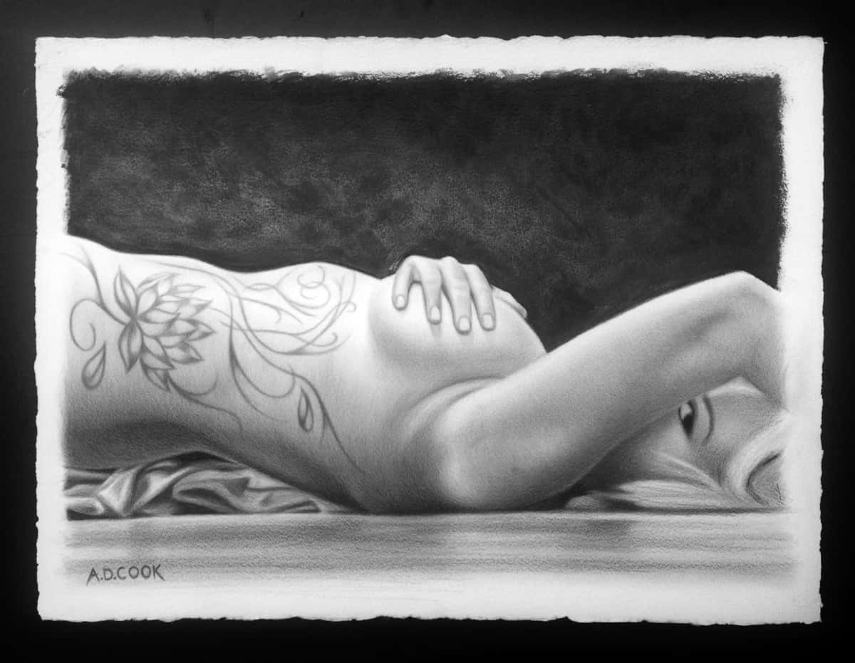 Lotus - graphite figurative art by A.D. Cook