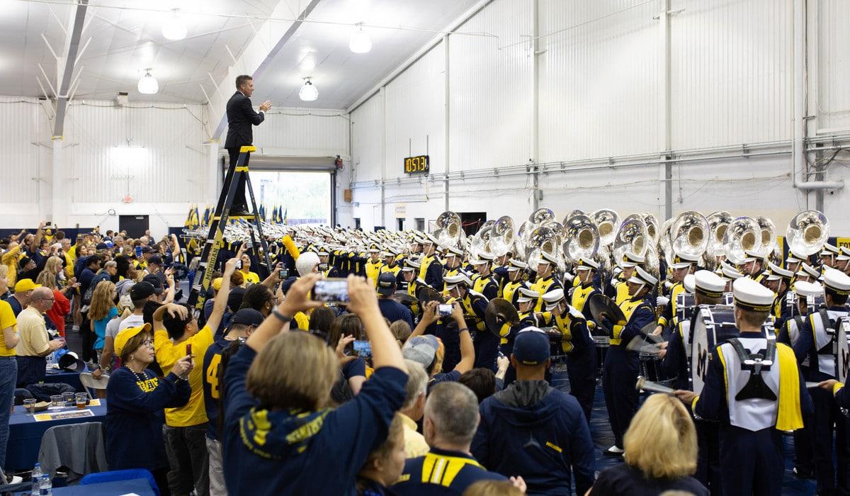 Michigan Marching Band performs at 2018 Alumni Territory Homecoming Tailgate in Ann Arbor, Michigan