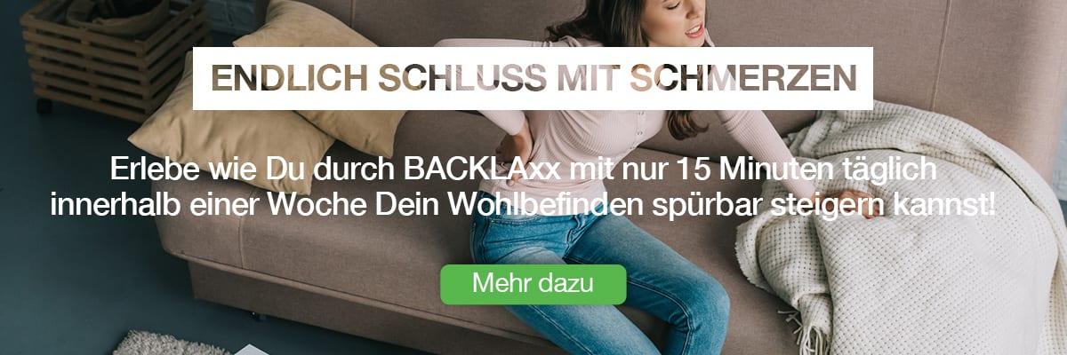 """Infobox für Ursachenartikel für die BACKLAxx-Matte - """"Endlich Schluss mit Schmerzen. Erlebe wie Du durch BACKLAxx mit nur 15 Minuten täglich innerhalb von einer Woche Dein Wohlbefinden spürbar steigern kannst!"""