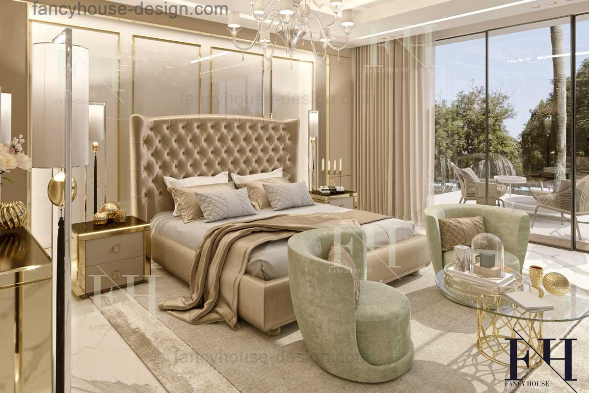 Красивый дизайн интерьера с большой краватью в росокшном доме в Дубае.