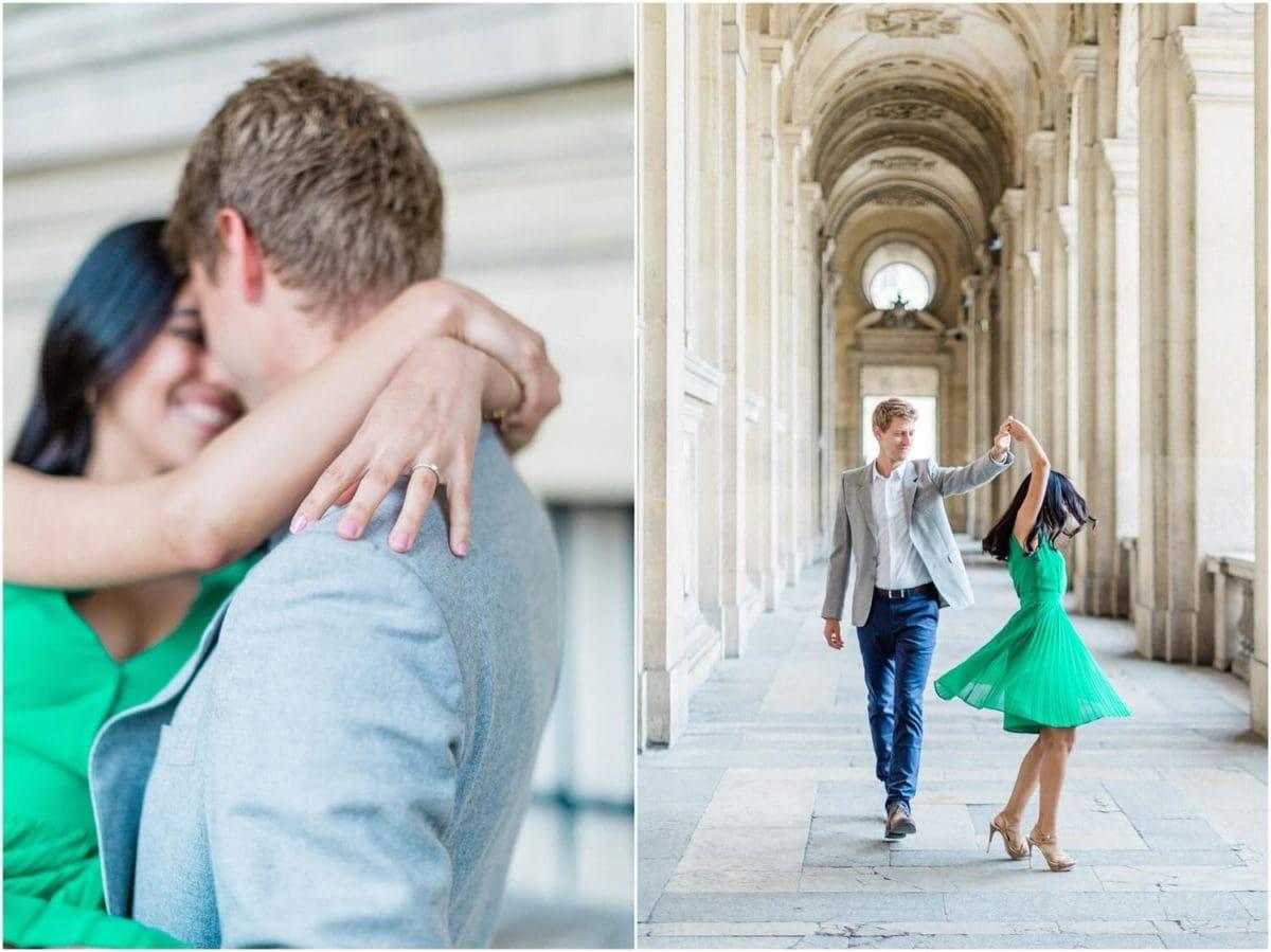 diptyque d'un couple qui danse et qui se prend dans les bras dans les arcades du musée du louvre pendant la seance photo couple paris