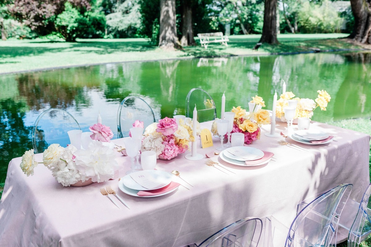 decoration table de mariage du chateau de roquefoulet