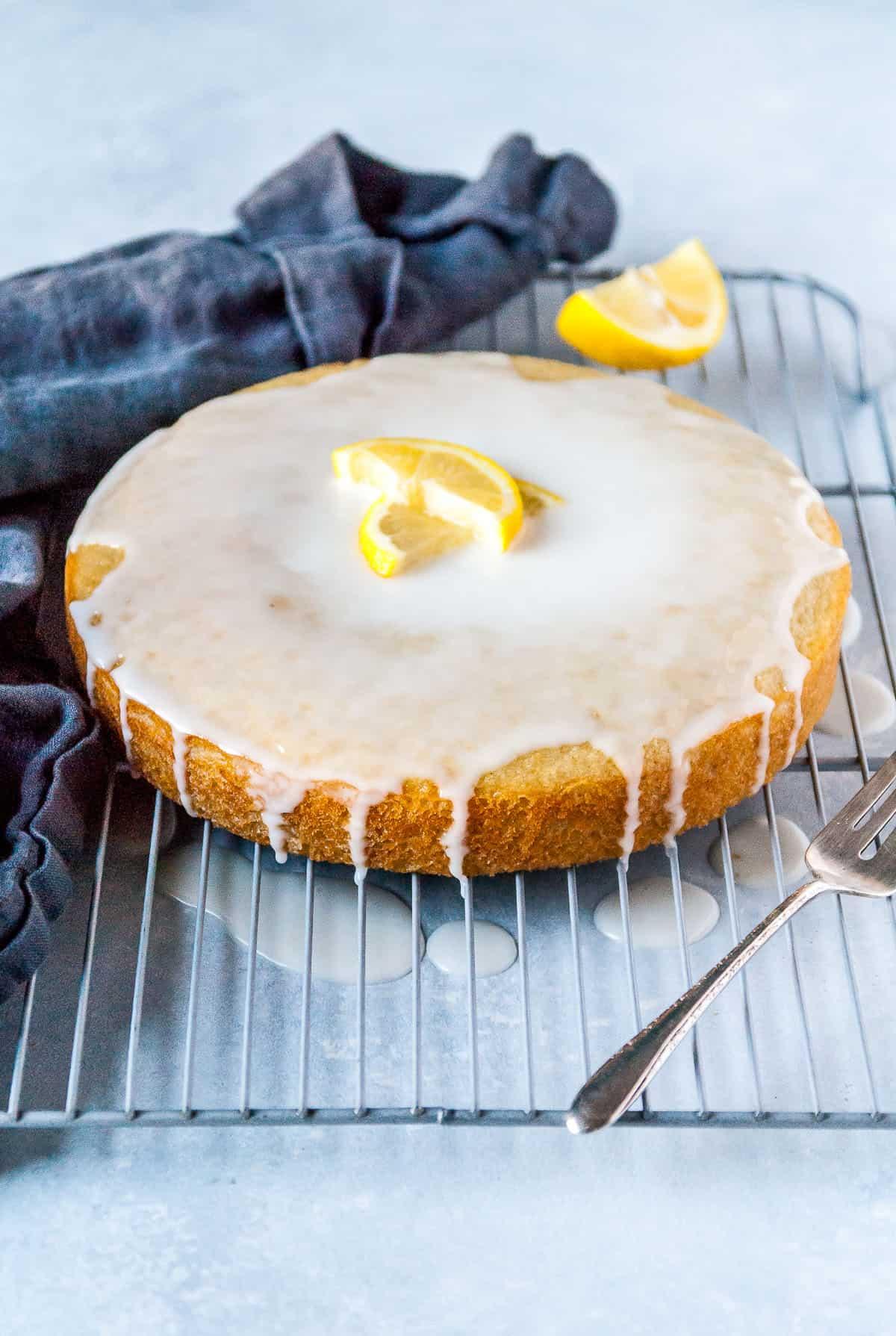 vegan lemon cake with vanilla glaze