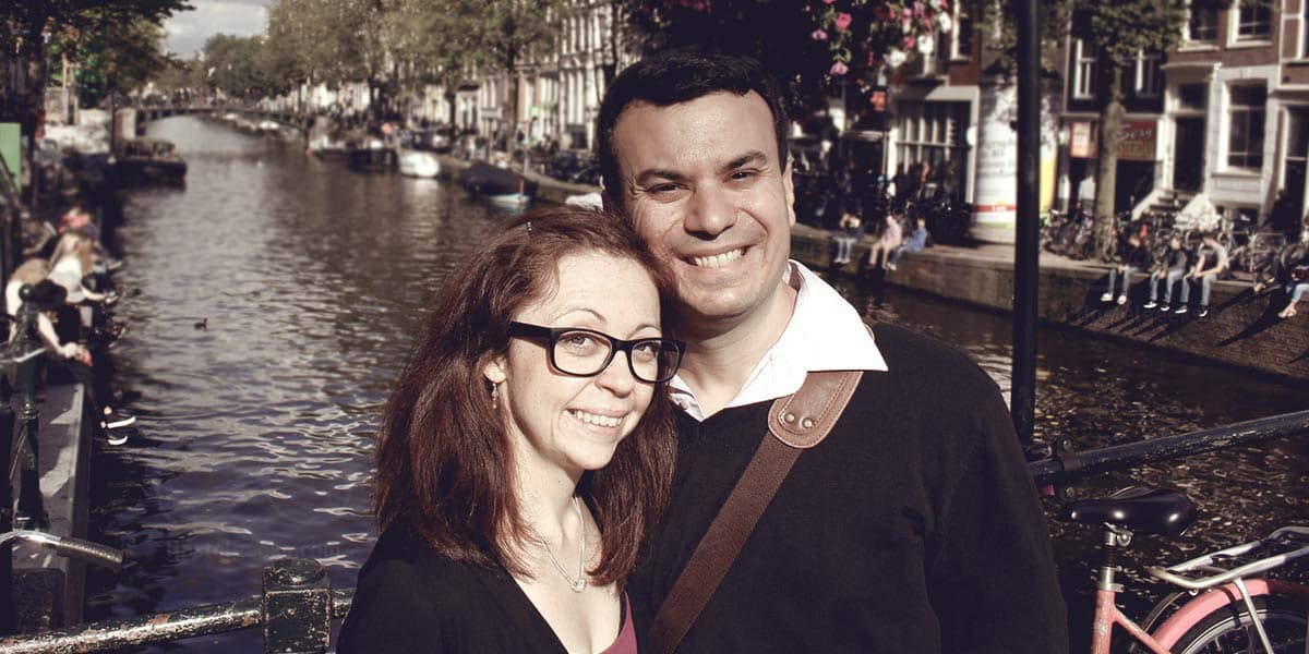 We met at a Hostel in Bruges, 10 years later we are still married