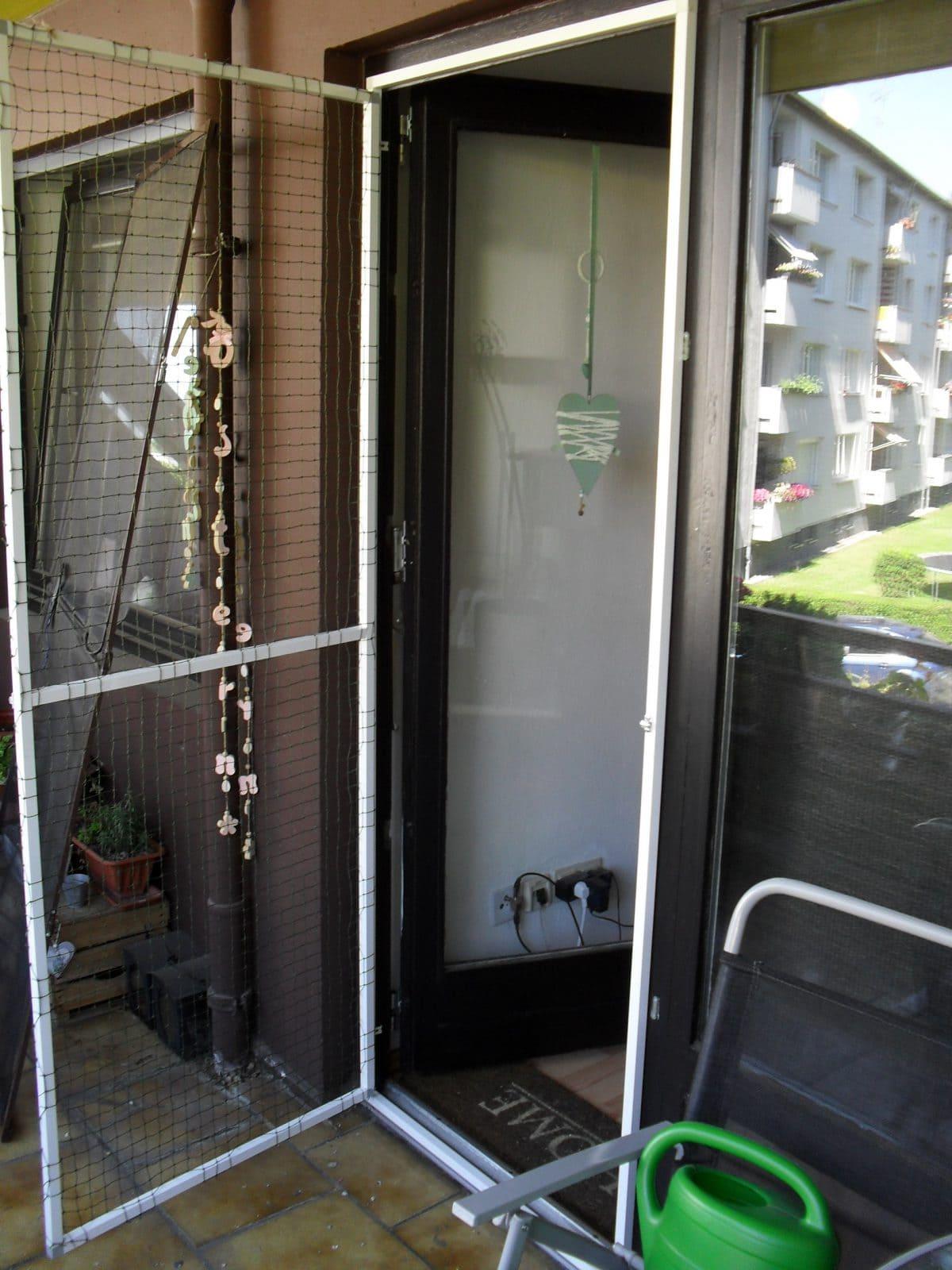 Balkontür mit Katzennetz ohne bohren