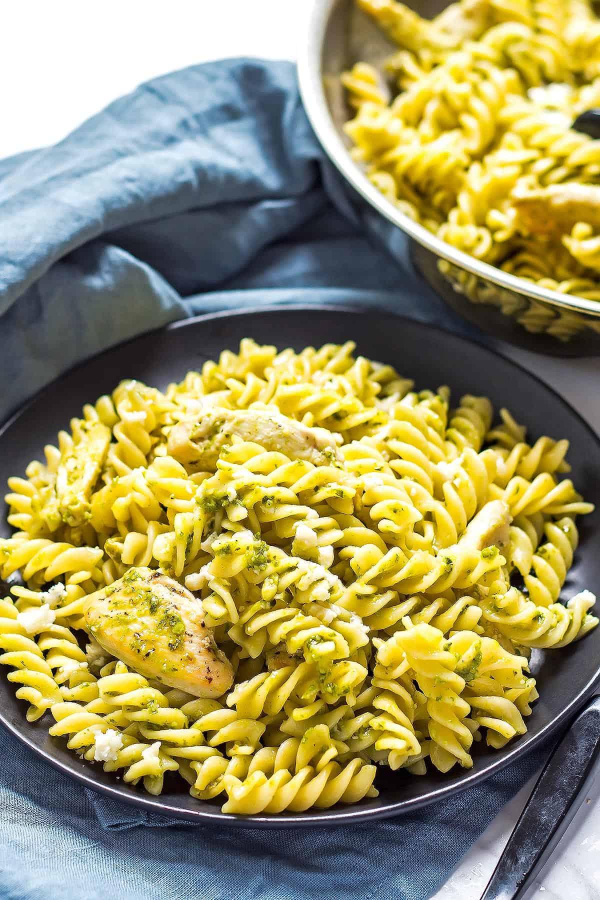Pesto Chicken Pasta on plate