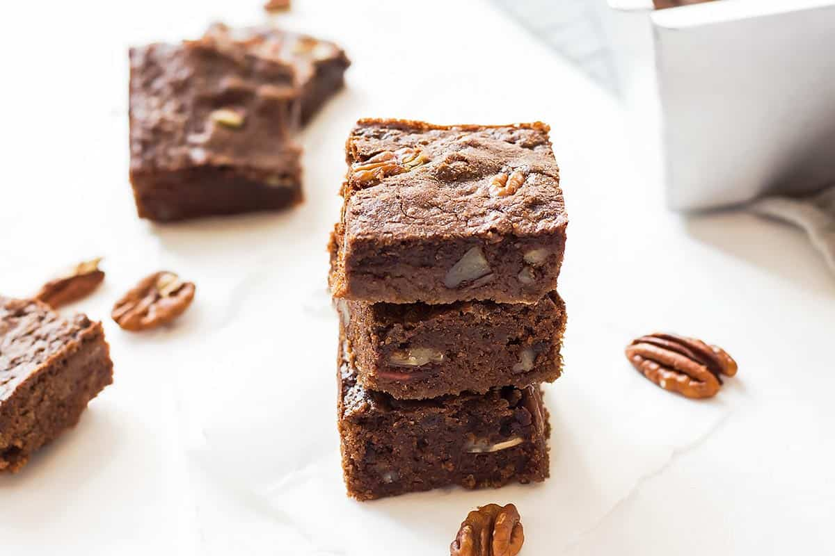 3 Almond Flour Low Carb Brownies stacked on top of each other