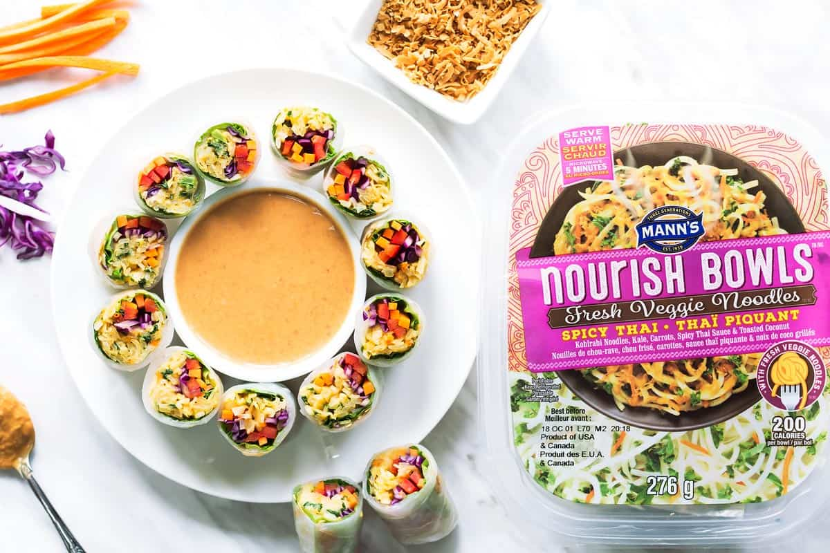 Rice Paper Rolls with Mann's Nourish Bowl Fresh Veggie Noodles