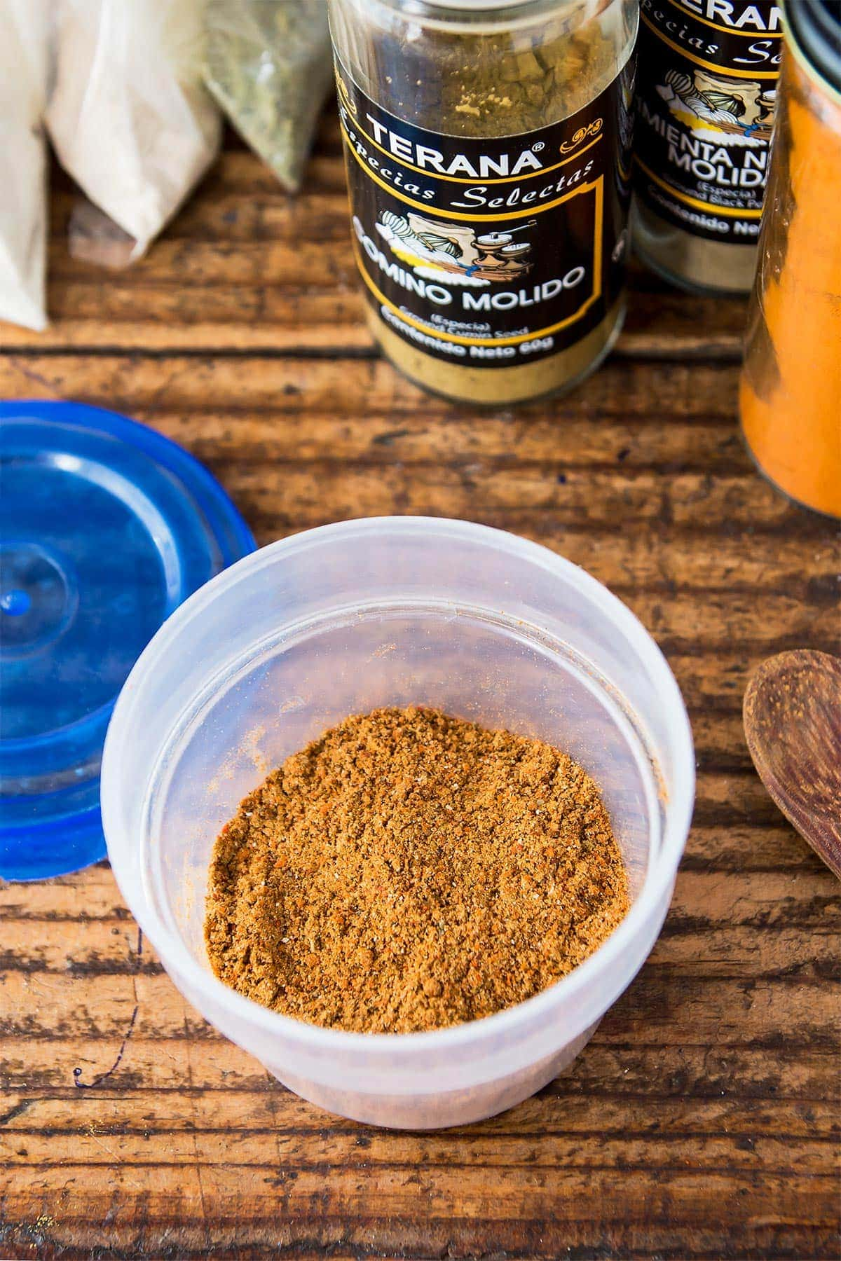 Gluten Free Taco Seasoning in spice container