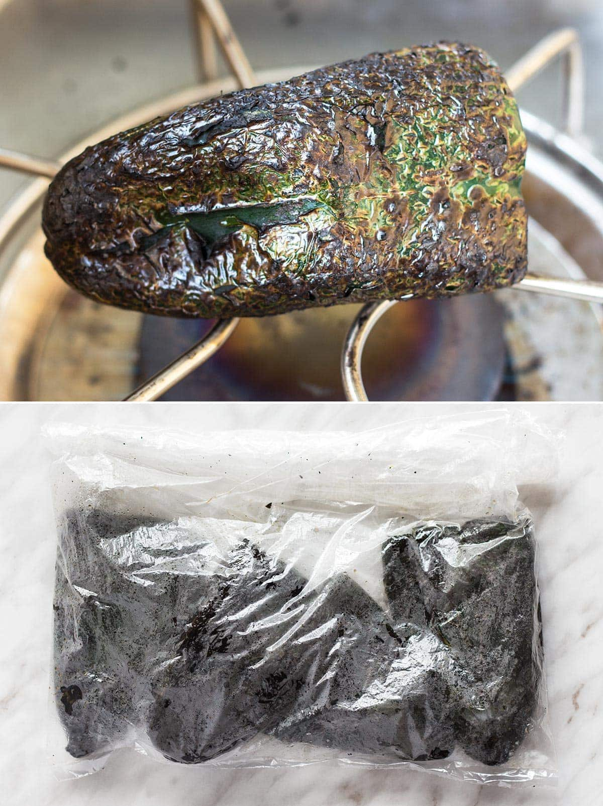 Charred and sweating poblano peppers