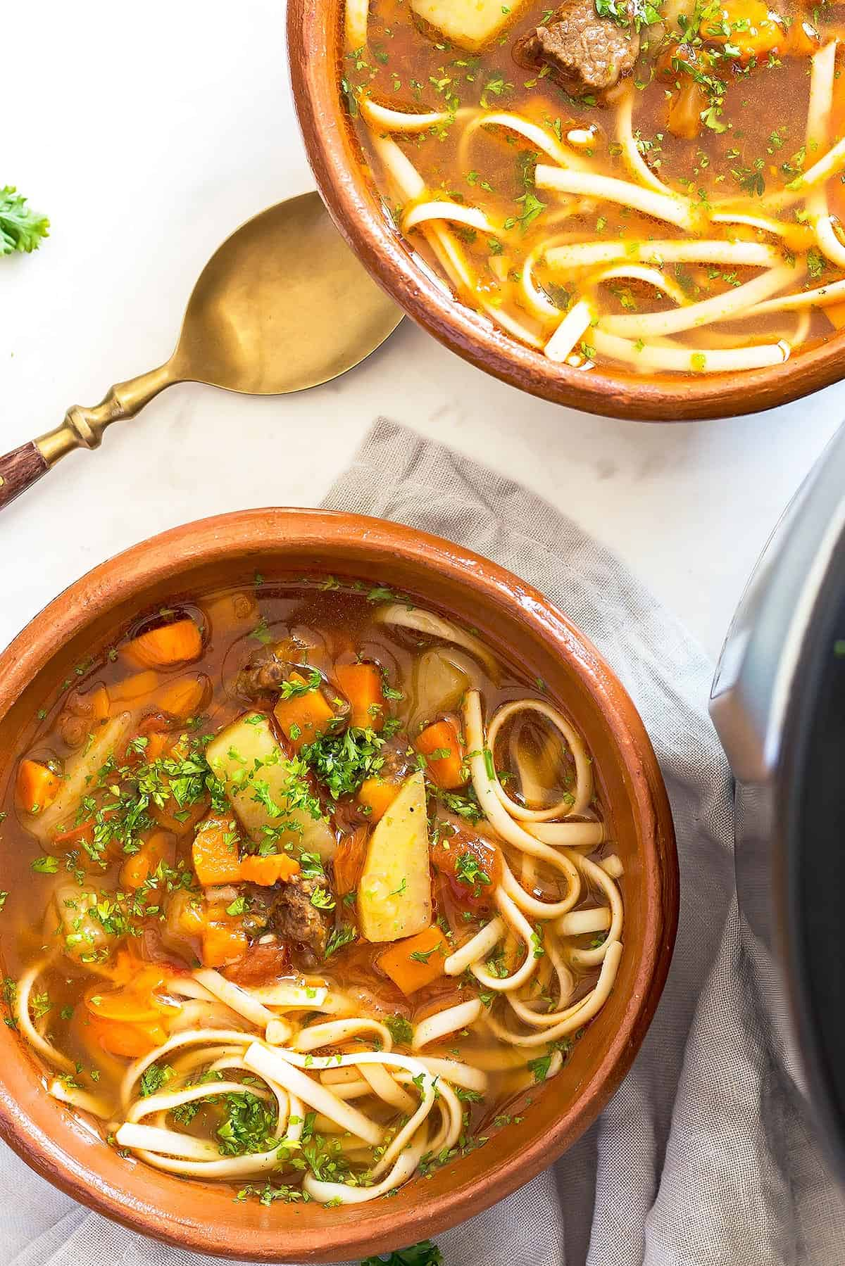 Vegetable Beef Soup with Noodles in 2 bowls