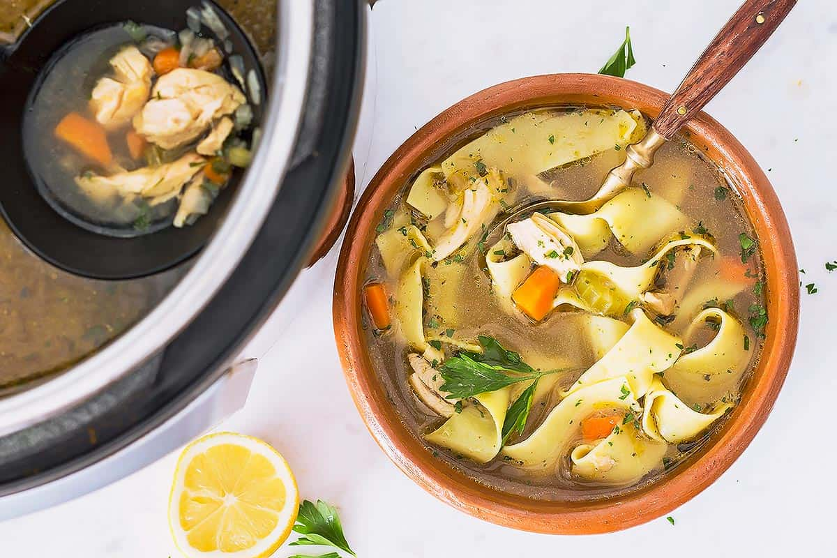 Chicken Noodle Soup in Instant Pot and bowl