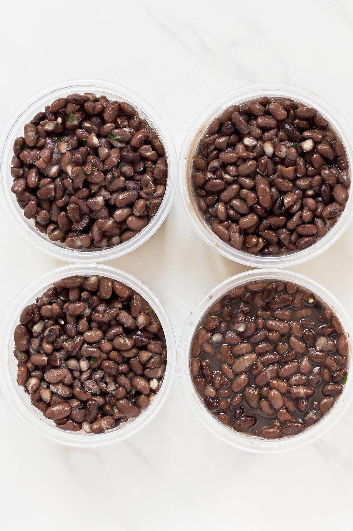 Black Beans in 4 storage containers
