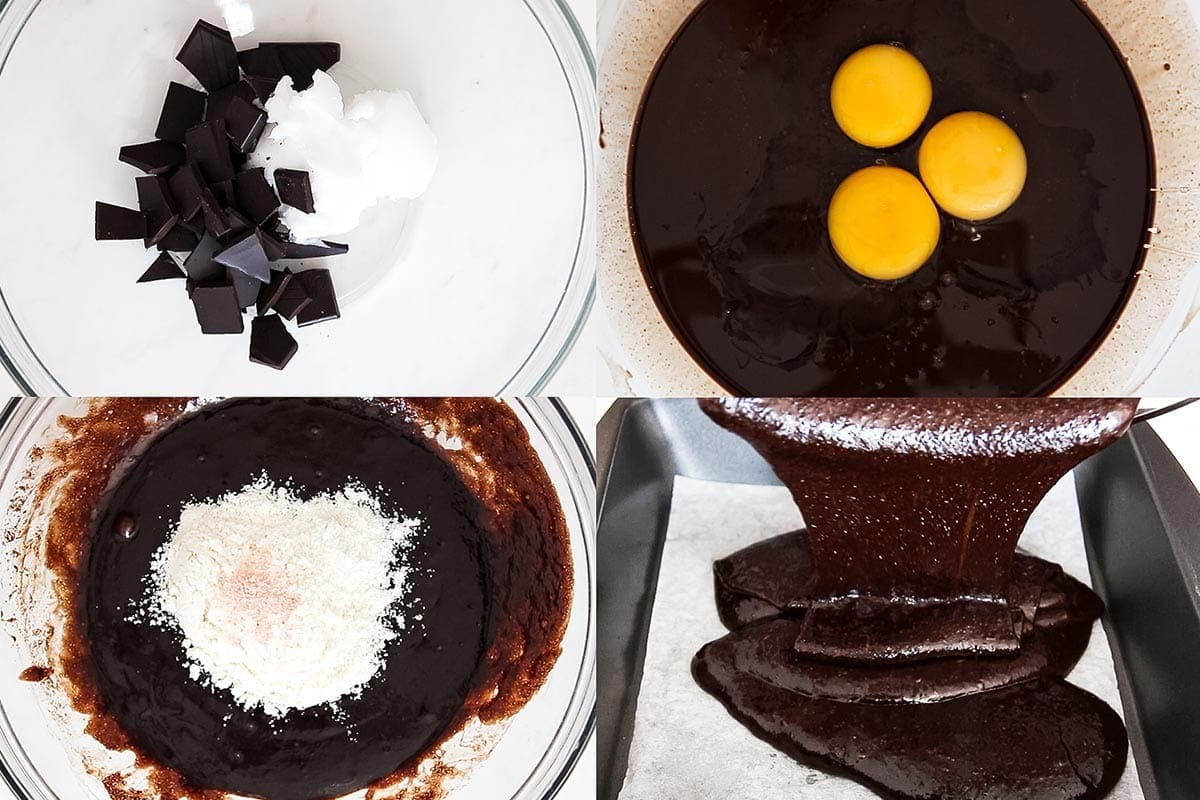 Collage of in-progress brownie batter