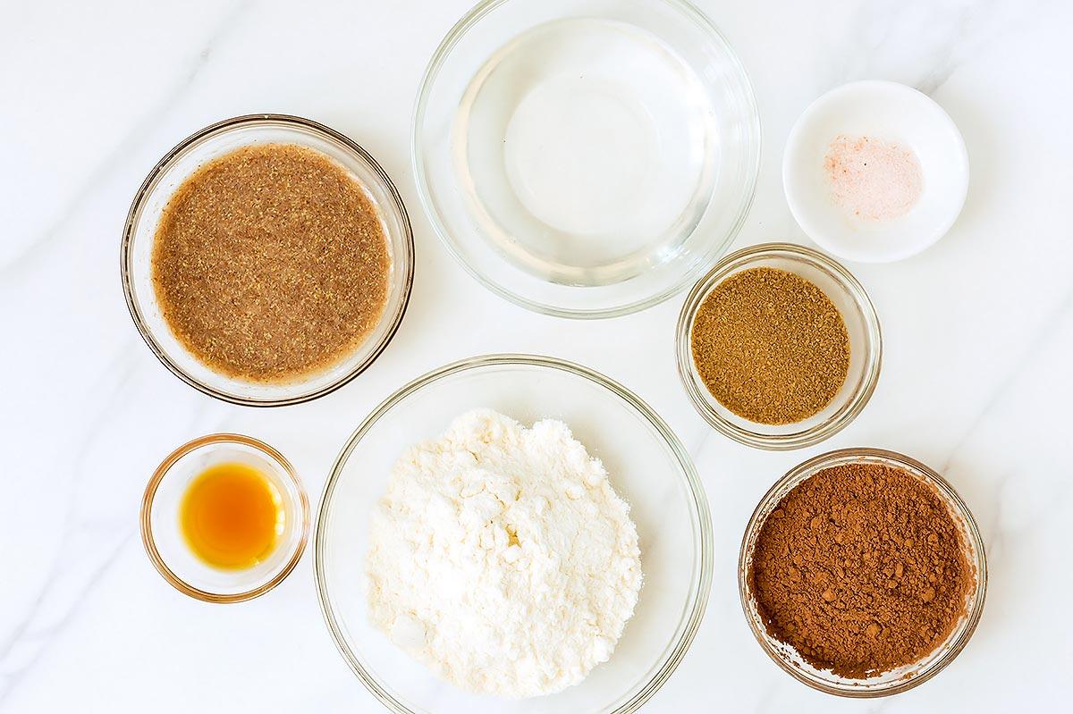 Chocolate Pie Crust Ingredients in individual bowls