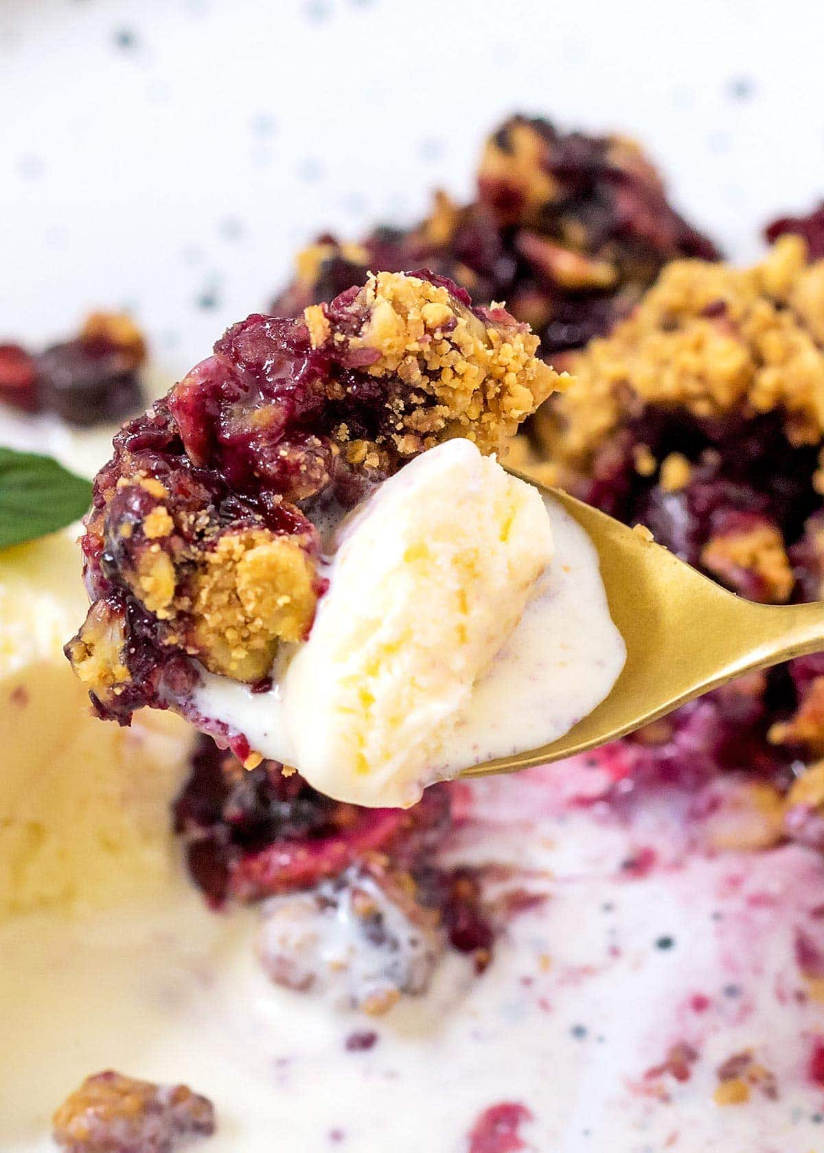 Spoonful of Berry Crumble and Ice Cream