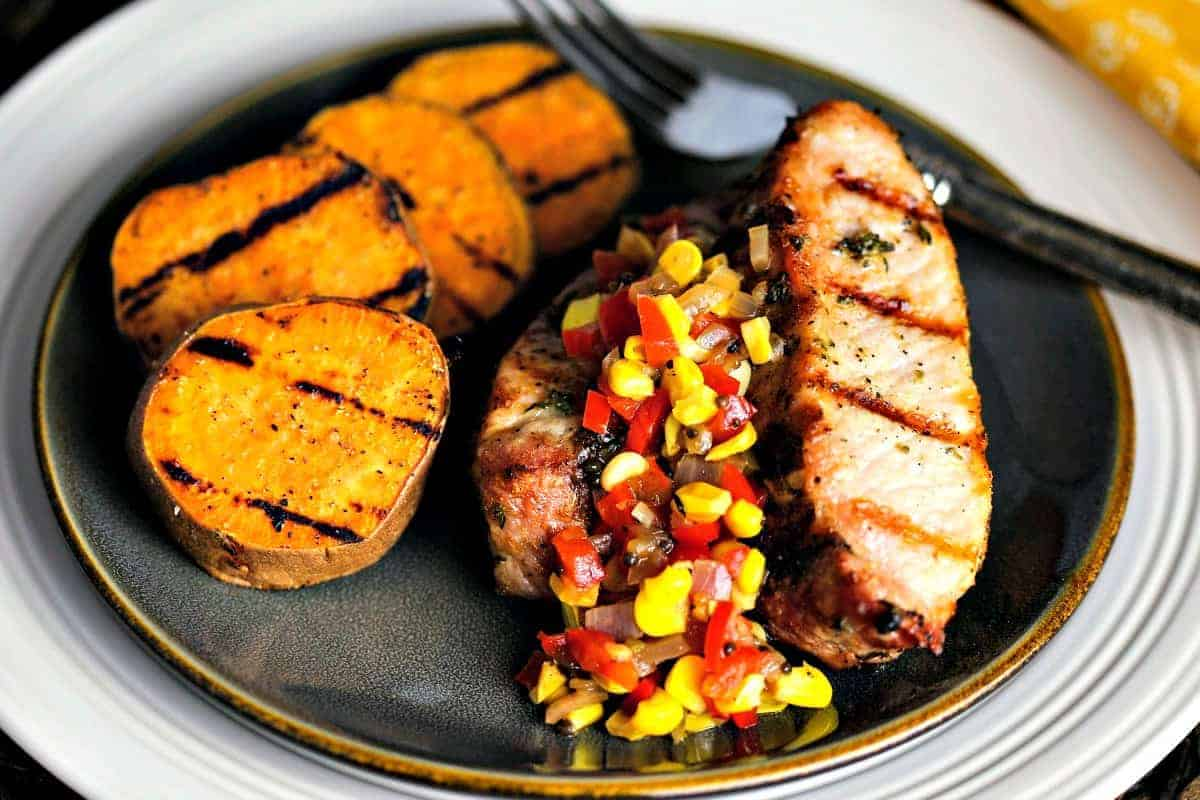 Country-Style Pork Ribs with Grilled Sweet Potatoes and Chow Chow   Life, Love, and Good Food