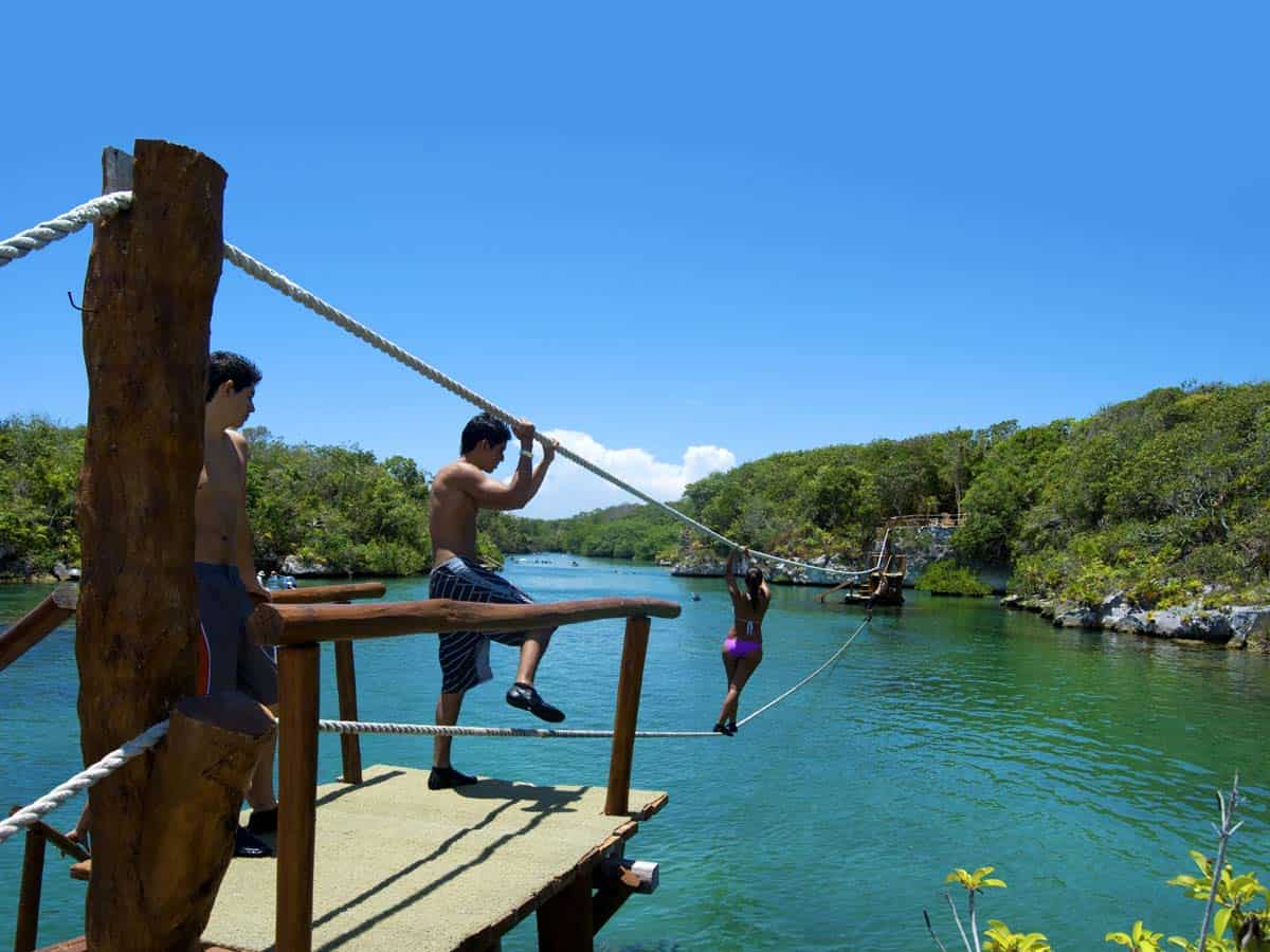 Things to do in Tulum, Mexico: Excursion to Xel-Há - Crossing the River on the
