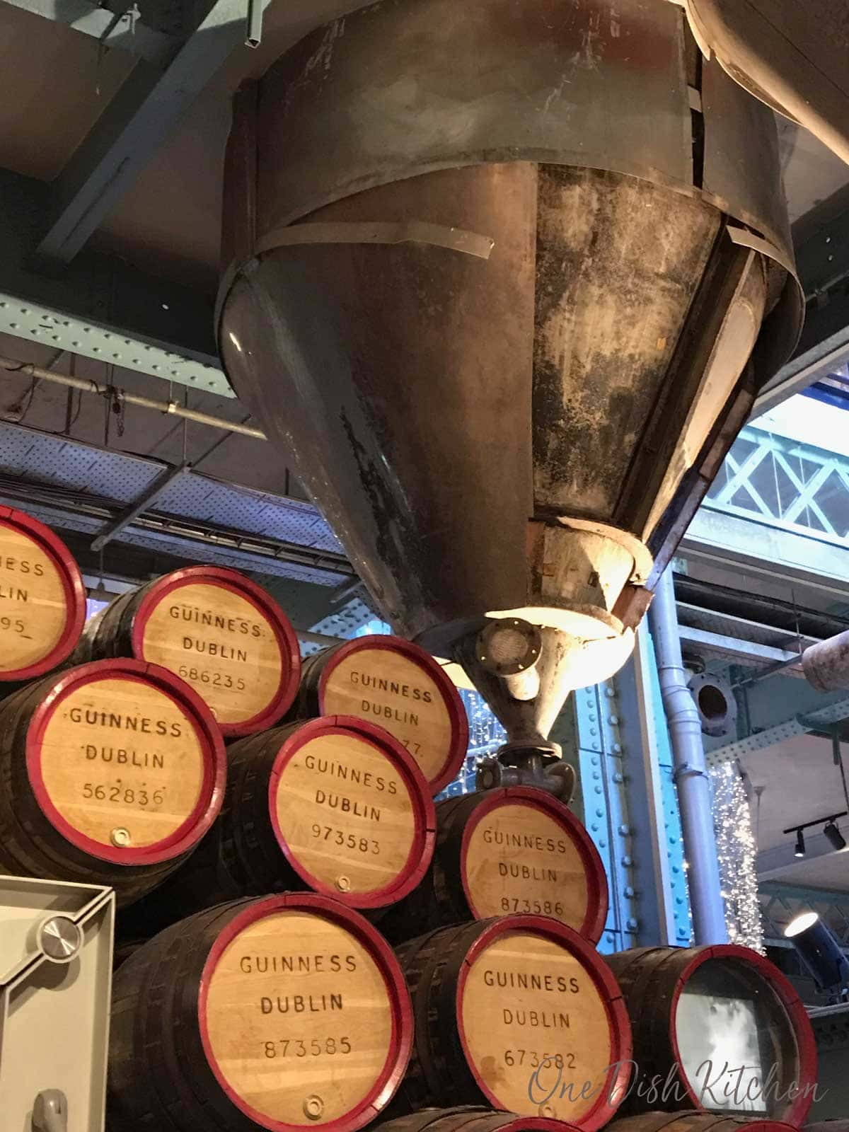 kegs of beer stacked in the Guinness storehouse in Dublin, Ireland | One Dish Kitchen