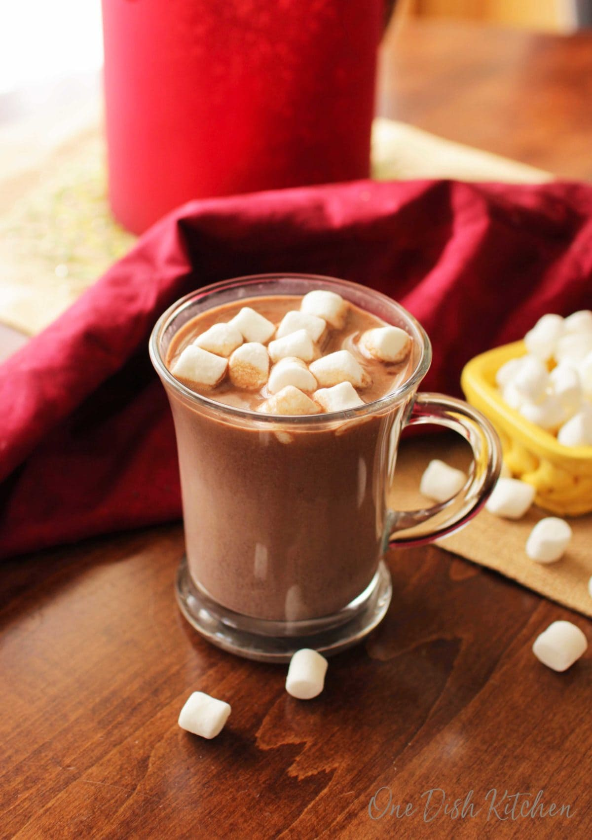 Hot chocolate in a cup with mini marshmallows