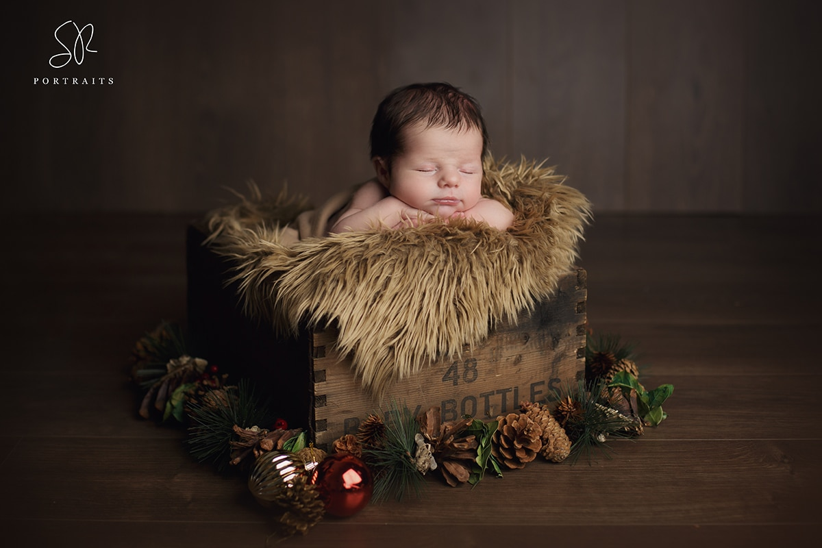 SR Portraits Newborn photography Leicester, Coalville, baby boy in crate
