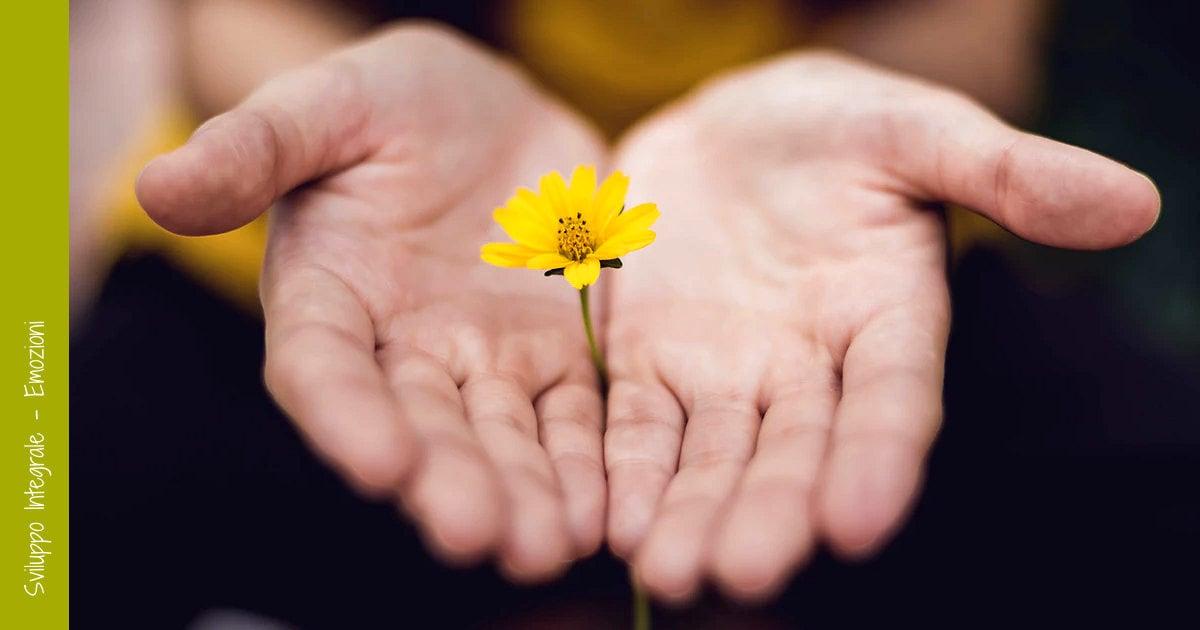 Due mani aperte che offrono un fiore