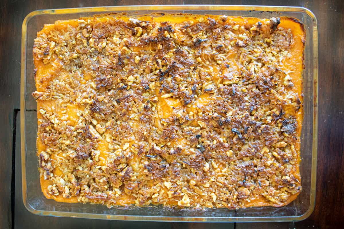 easy sweet potato casserole with pecan topping baked