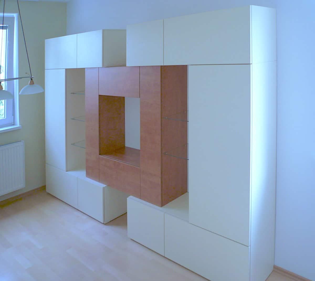 Obývací stěny s televizí, designové police 3