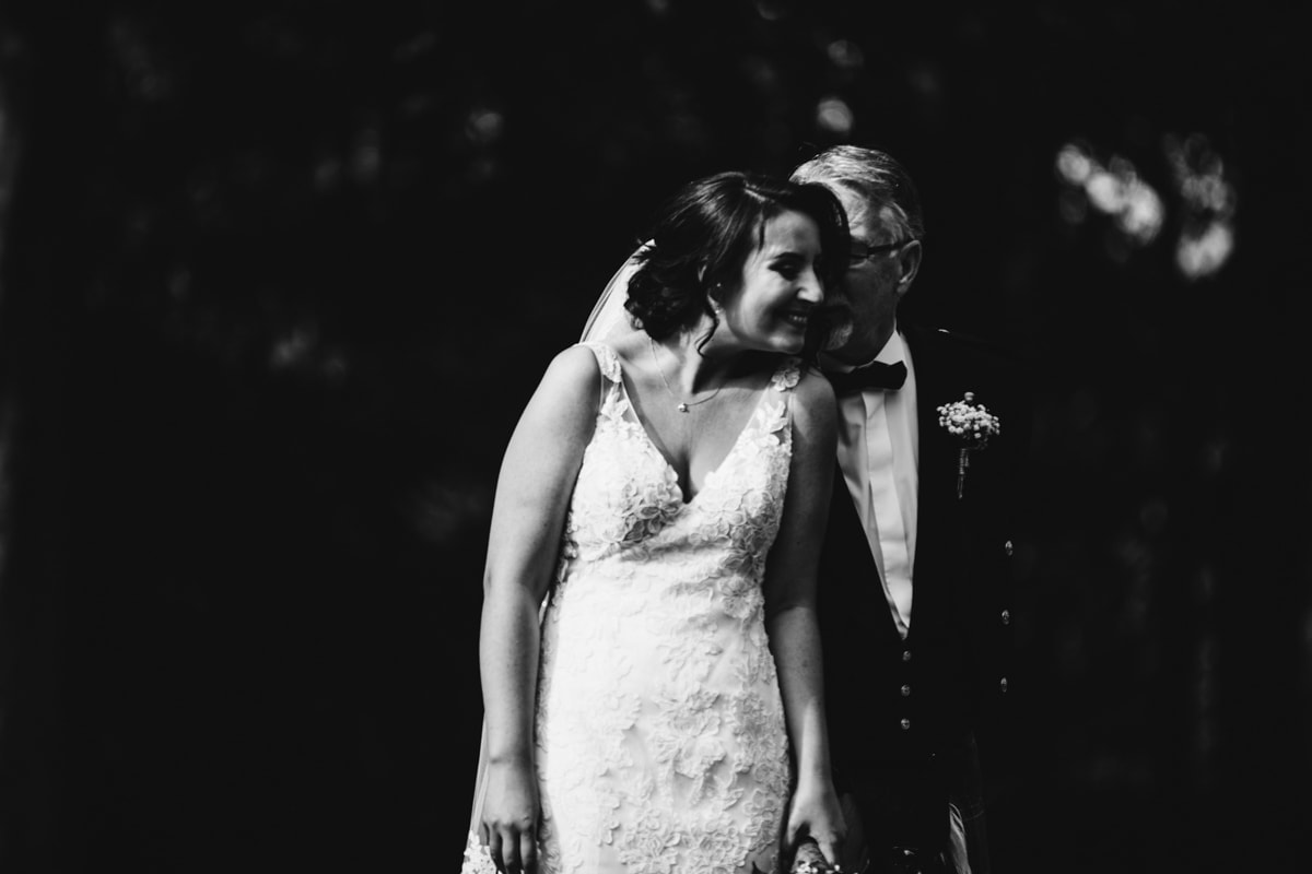 bride and father-in-law at rivington barn