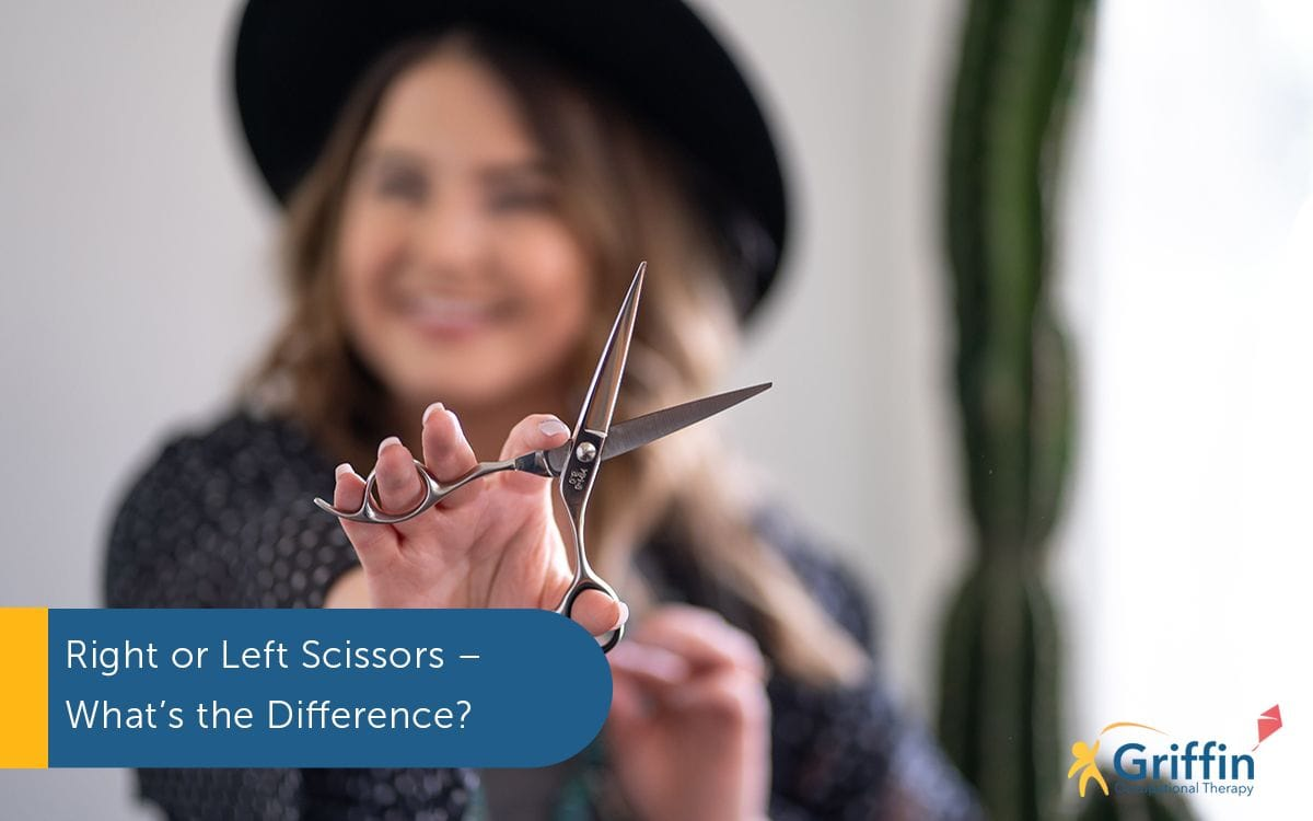lady holding left handed scissors and text saying right or left scissor what's the differece