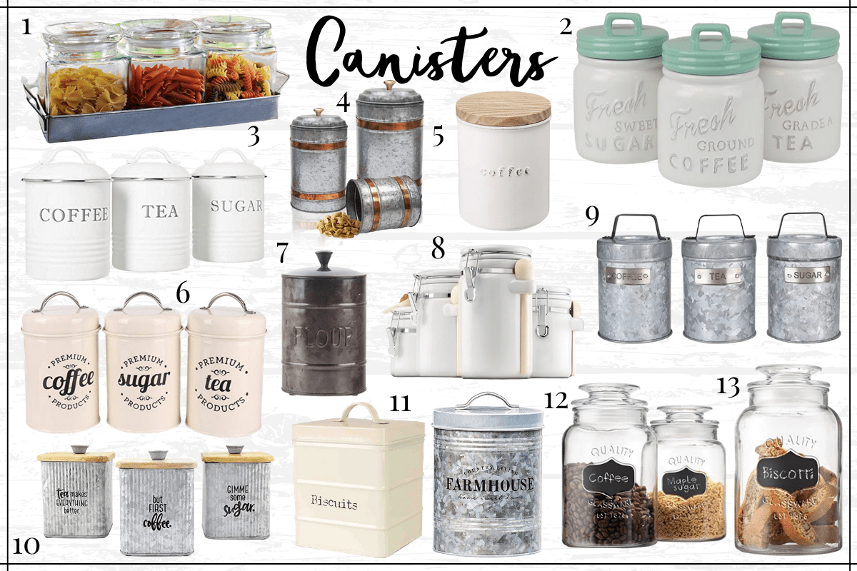 Farmhouse kitchen decor finds - farmhouse canisters and storage containers