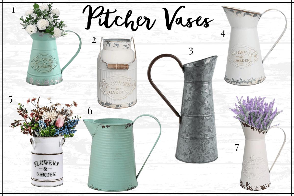 Farmhouse kitchen decor finds - farmhouse pitcher vases