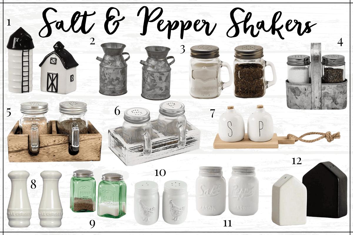 Farmhouse kitchen decor finds - farmhouse salt and pepper shakers