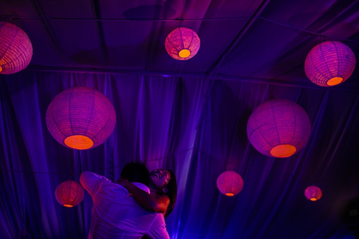 Wedding first dance with lanterns in Phuket, Thailand