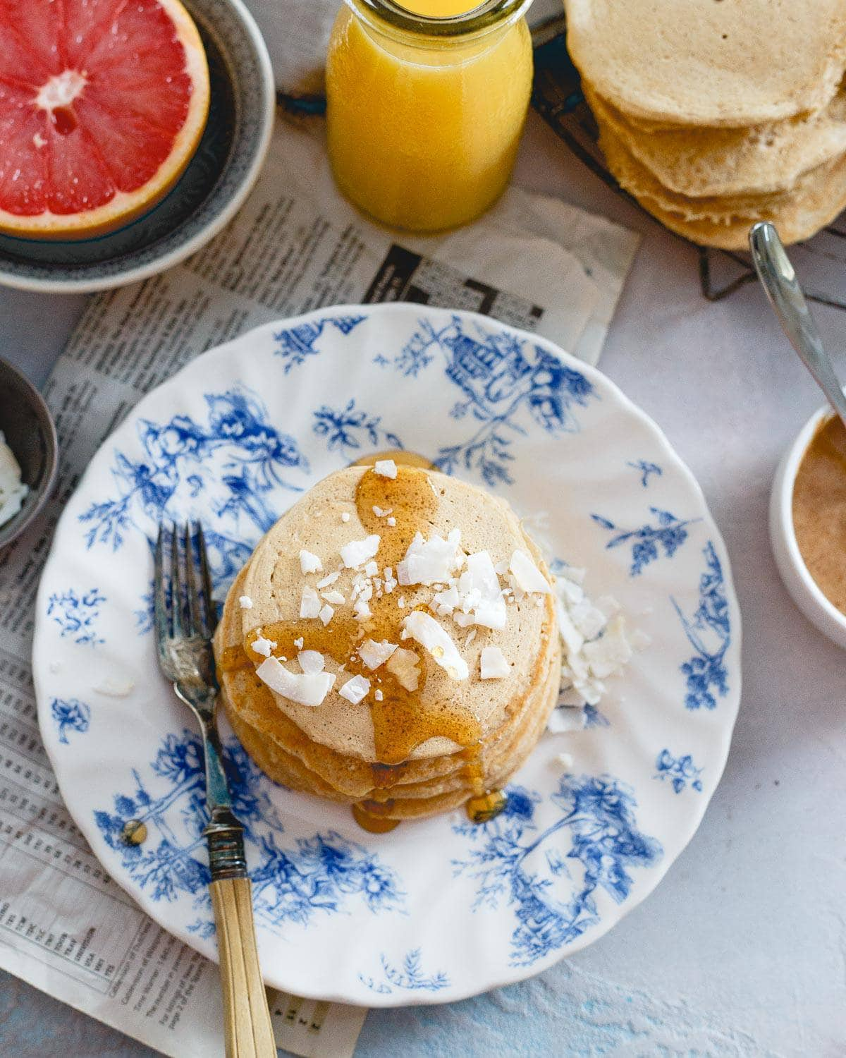 Spelt and coconut flour combine to make the perfect doughy and moist pancake breakfast.