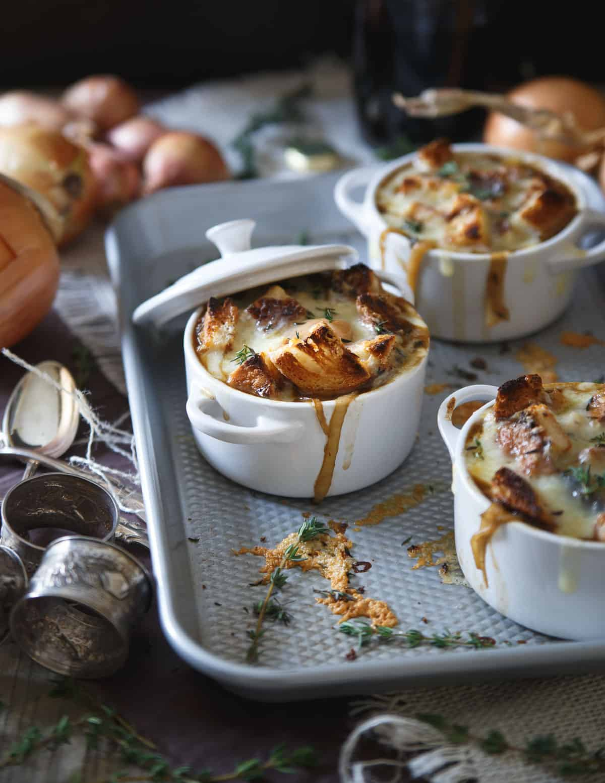 This gluten free Irish stout onion soup is made with buttery toasted thyme croutons and topped with plenty of Irish cheddar.