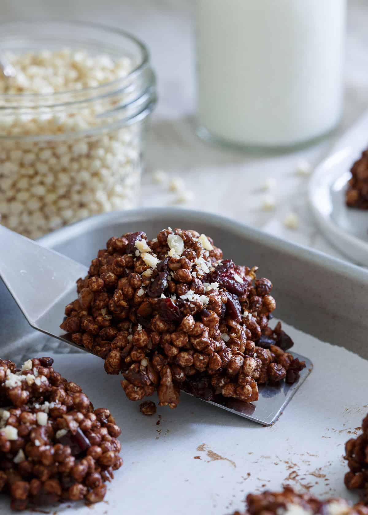 Chocolate Cranberry Puffed Millet Cookies are an easy gluten free no bake treat