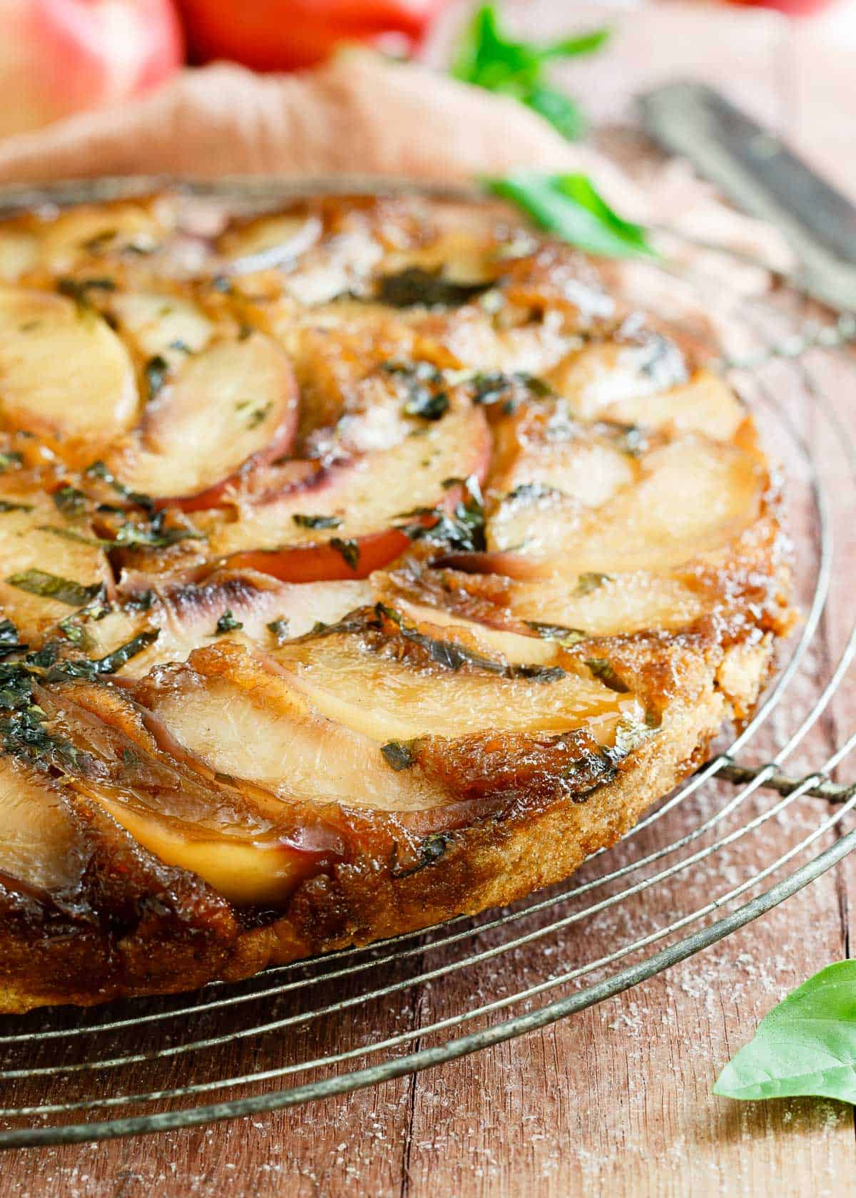 Gluten Free Basil Nectarine Upside Down Cake with Vital Proteins marine collagen.