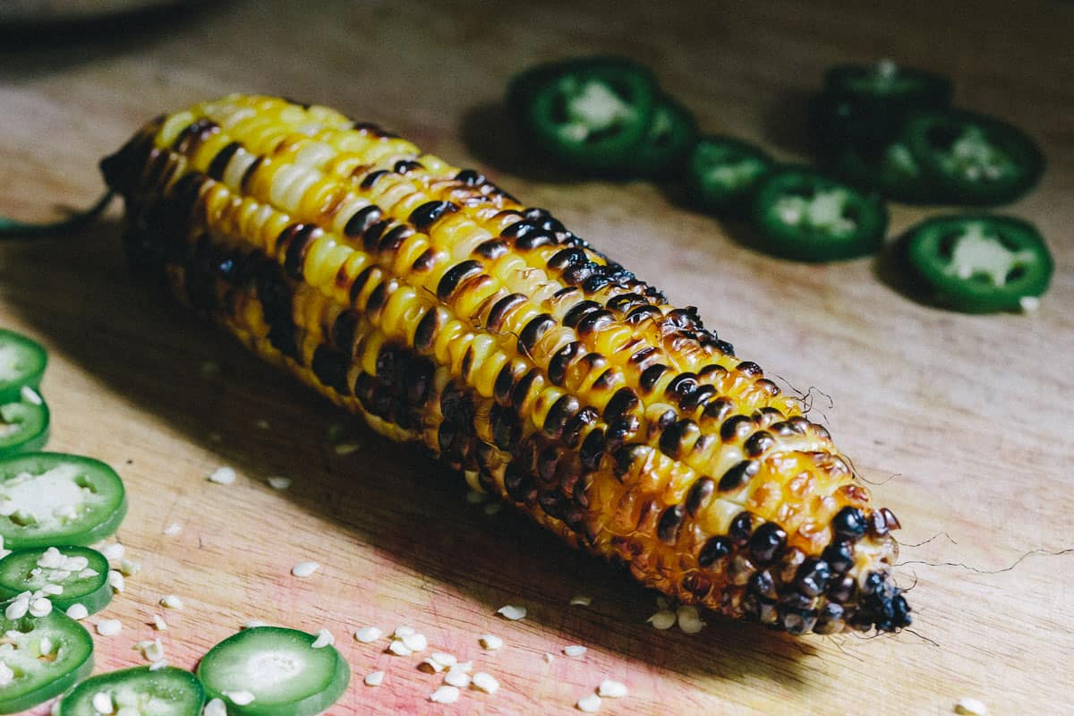 Grilled Corn for Blackened Shrimp Tacos with Grilled Corn Cherry Salsa