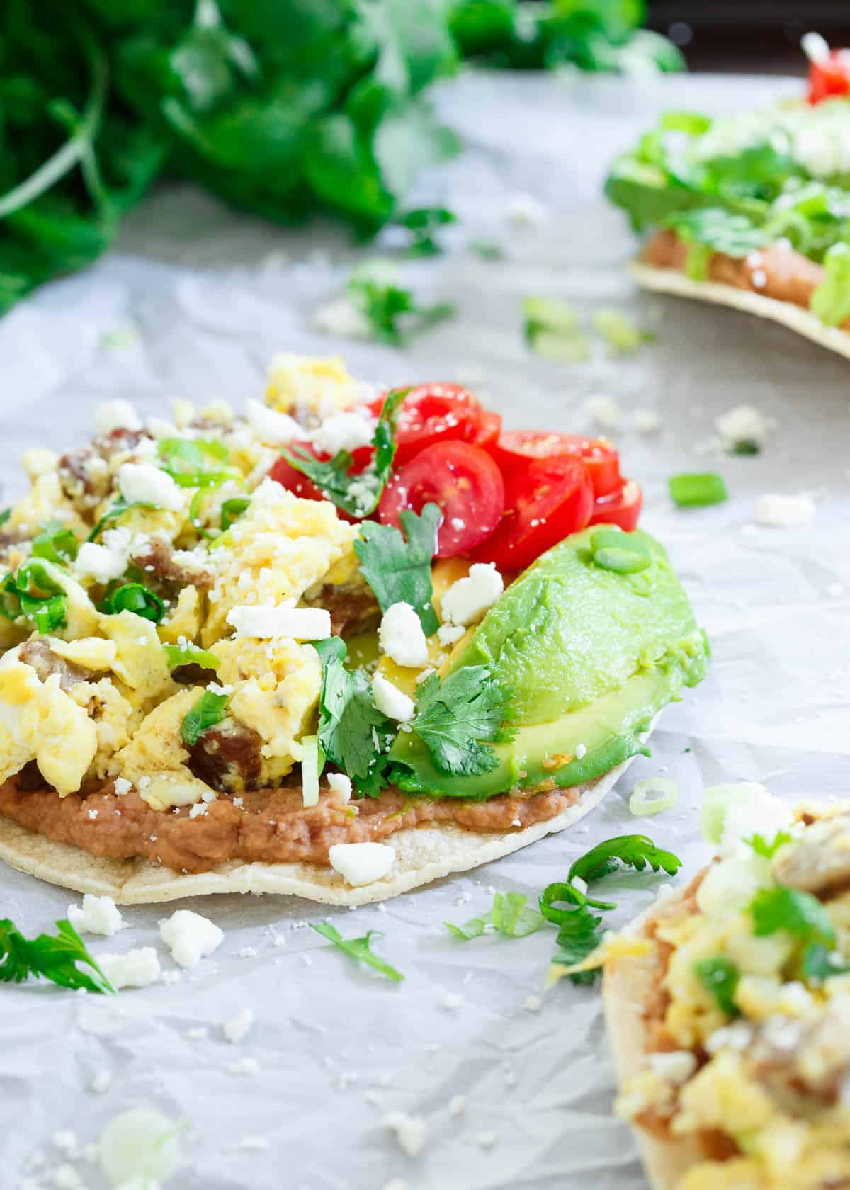 Chicken Sausage Breakfast Tostadas are a delicious savory start to the day with a bit of Mexican flair!