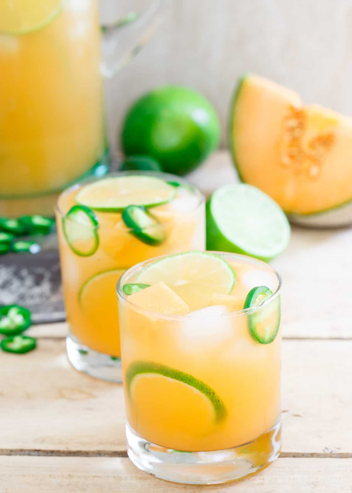 This Cantaloupe Lime Jalapeno Agua Fresca is the perfect summer sipper.