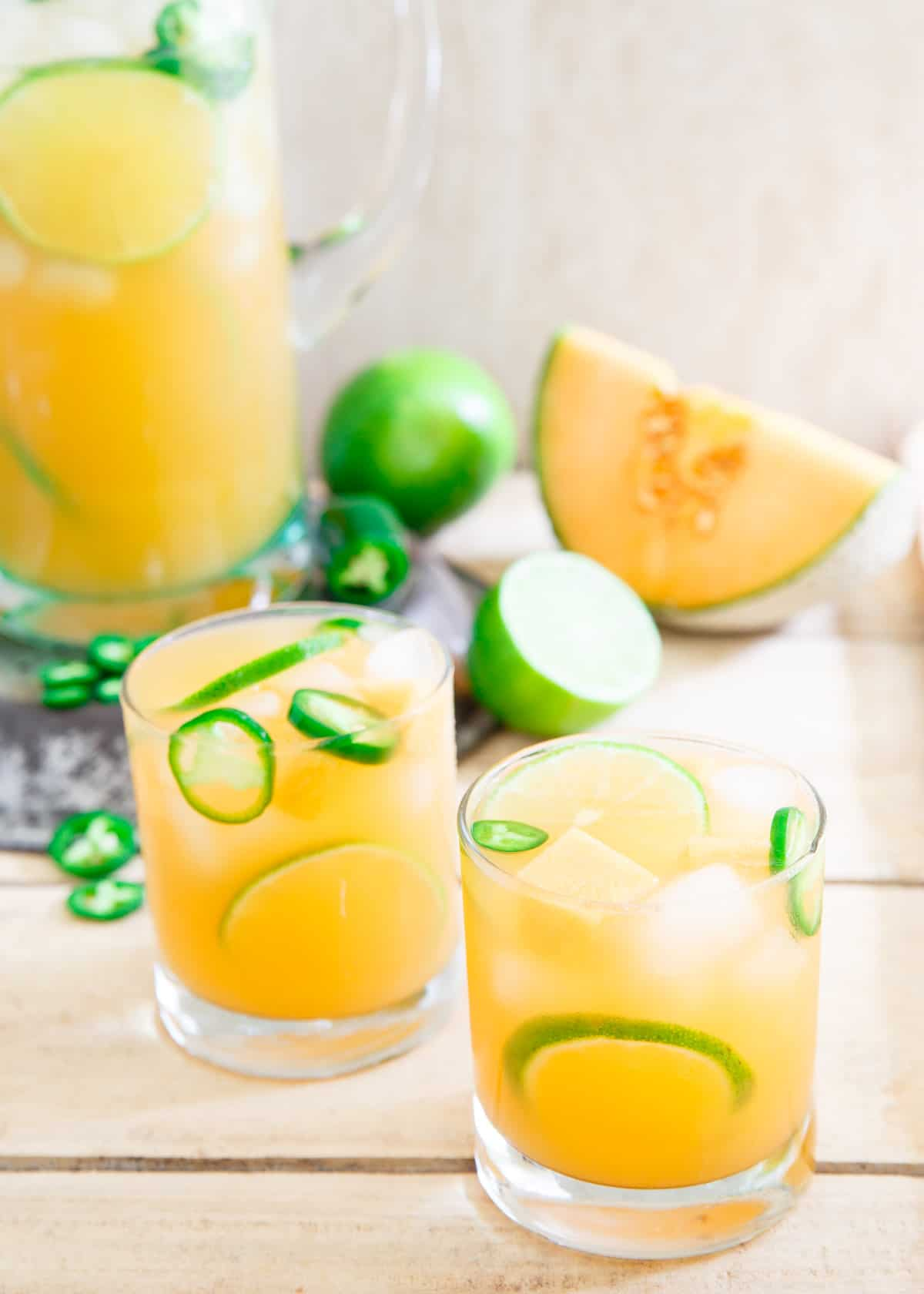Refreshing, slightly sweet, subtly spicy and a bit tart, this cantaloupe lime jalapeño aqua fresca is the perfect summer drink.