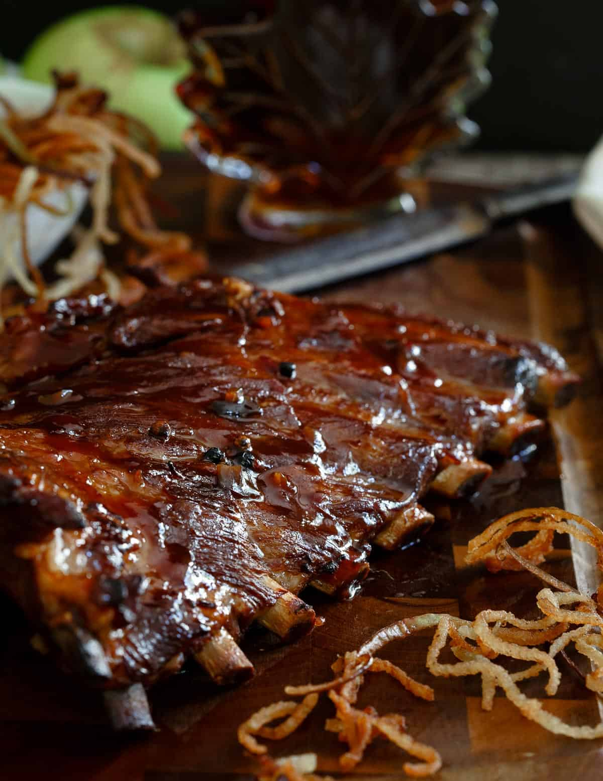Sticky Maple Apple Ribs served with shoestring apple fries is a finger lickin' meal to ease into fall.