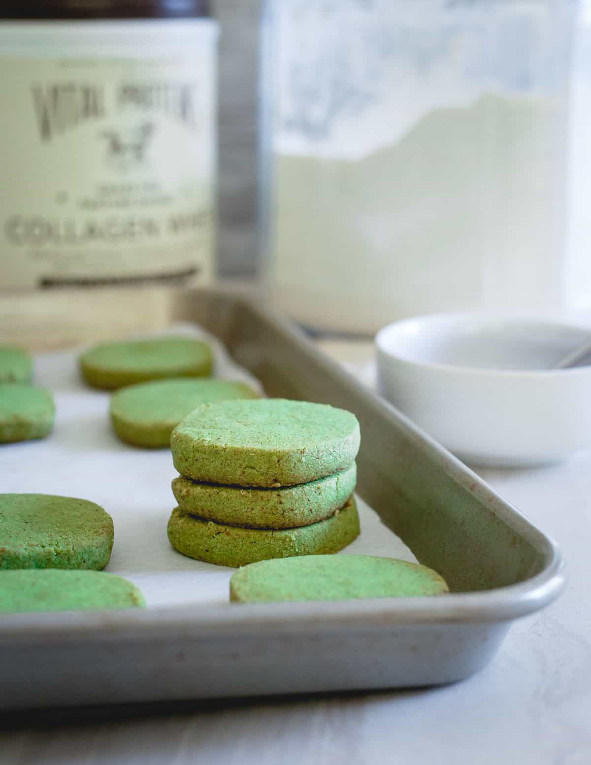 Infused with matcha green tea powder, these shortbread cookies are perfect for the holidays!