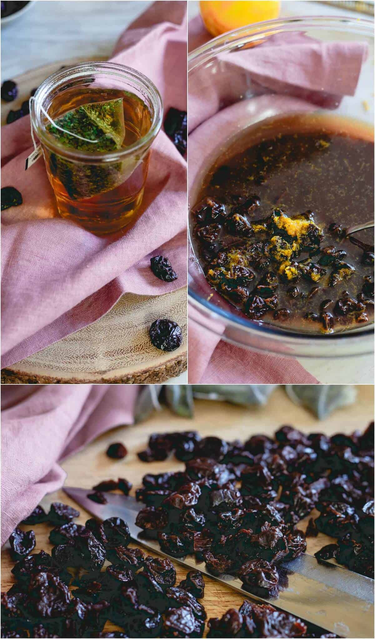 Dried tart cherries are soaked in earl grey tea and make a delicious and nutritious addition to this simple tea bread.