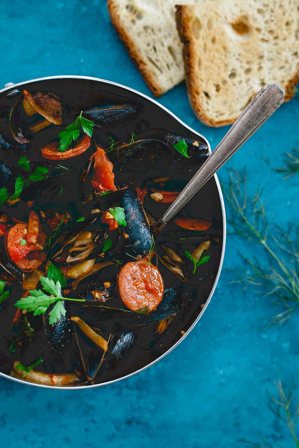 This one-pot mussels dish gets a spicy Spanish twist with chorizo, chilis and fennel.